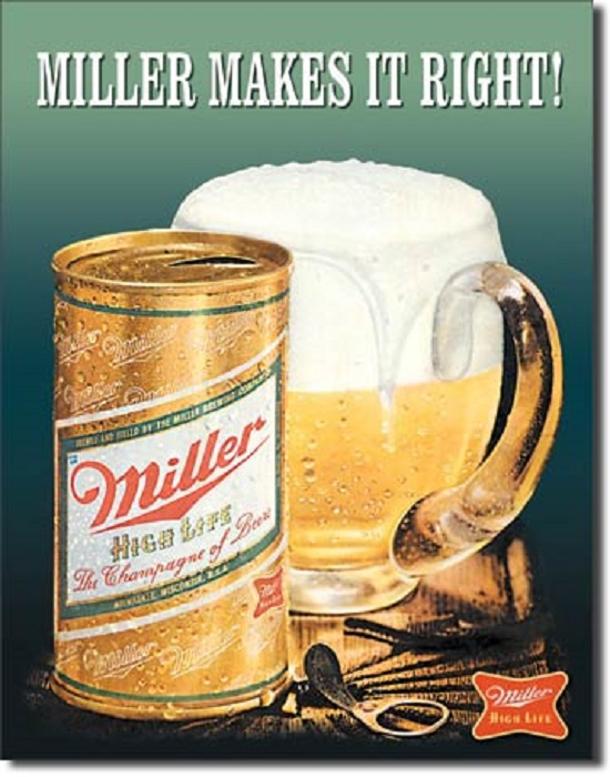 12 1 2 x 16 tin sign miller makes it right beer metal for Plaque metal cuisine