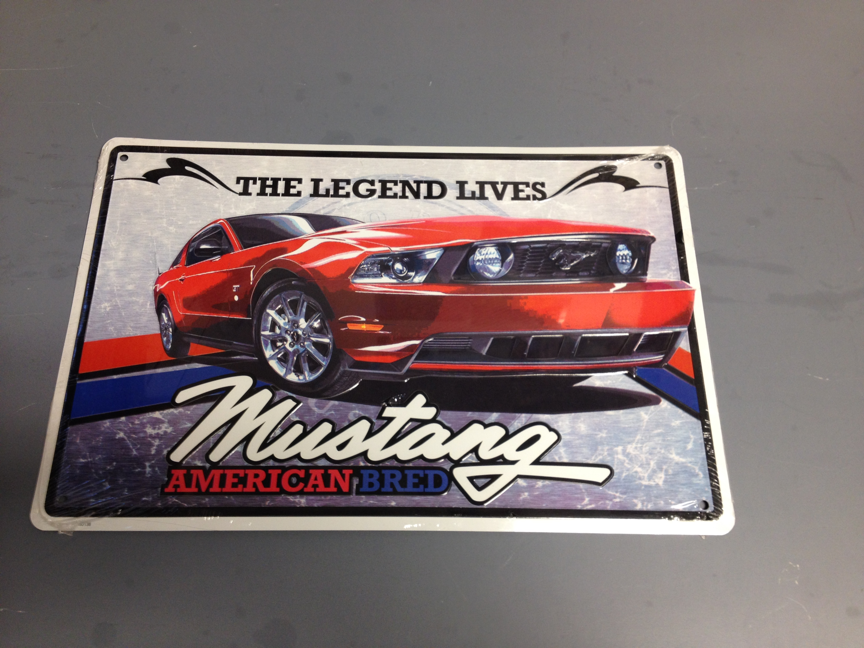 """Legendary Ford Muscle Sign Mustang Red 12/"""" x 18/"""""""