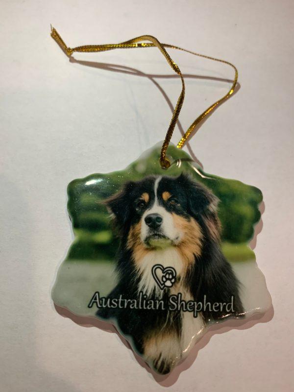 Australian Shepherd Christmas Ornament.Australian Shepherd Dog Porcelain Christmas Ornament New