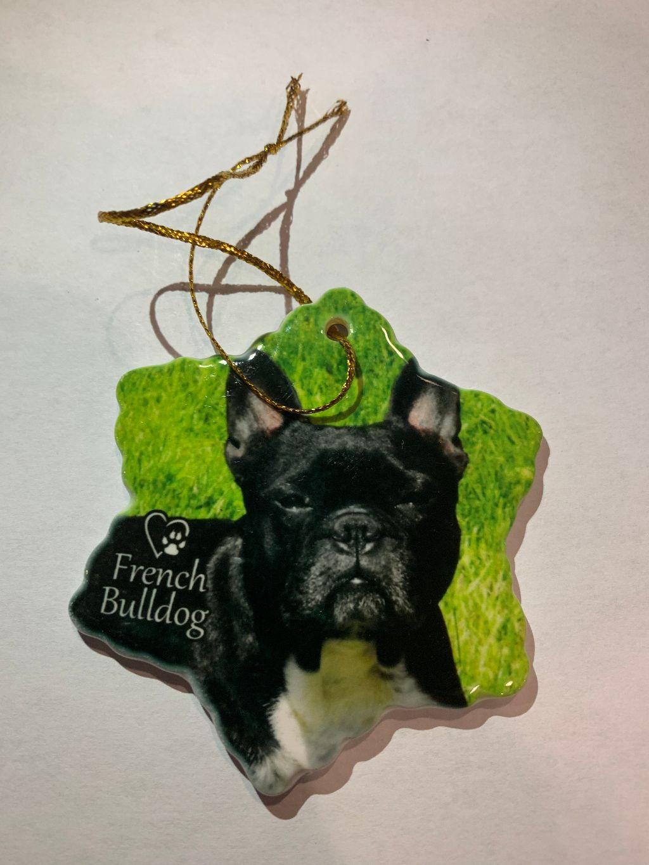 French Bulldog Christmas Ornament.French Bulldog Dog Porcelain Christmas Ornament New